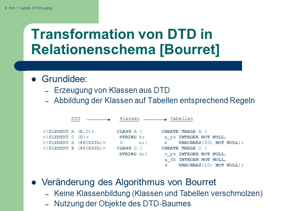 Transformation von DTD in Relationenschema [Bourret]